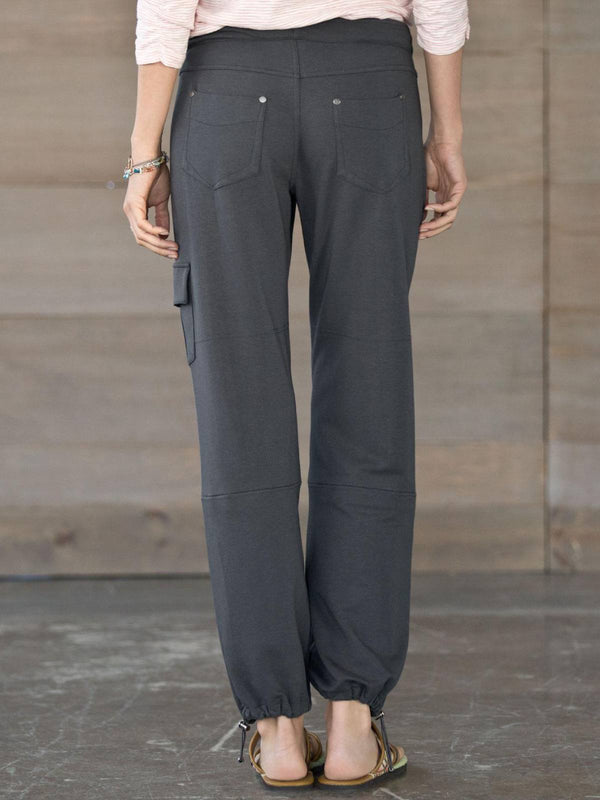 Deep Grey Solid Paneled Casual Modal Leisure Cargo Pants