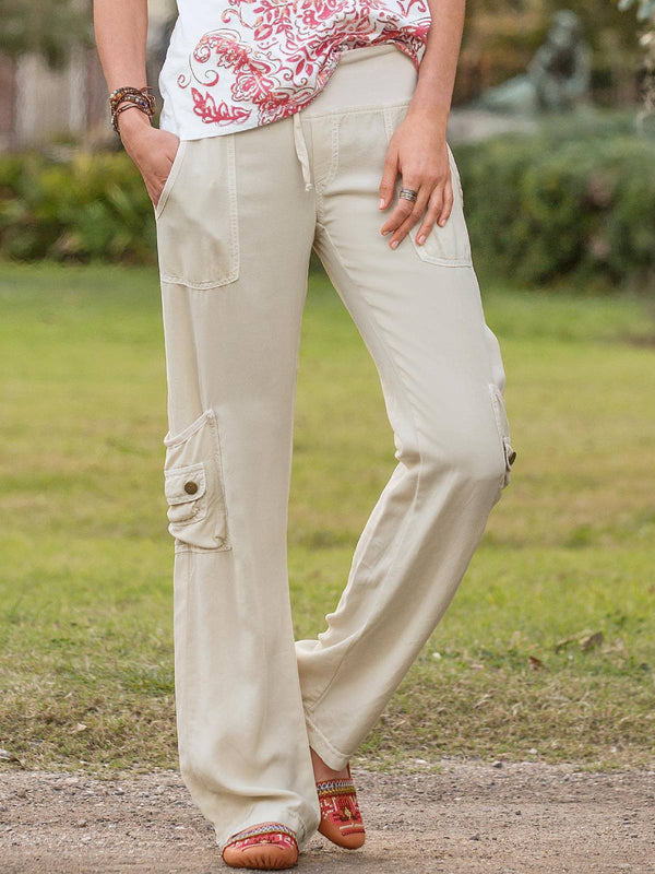 White Tencel Casual Plus Size Pants