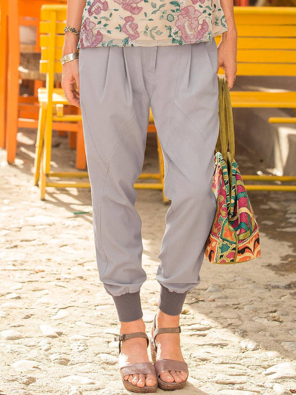Grey Casual Solid Polyester Plus Size Pants