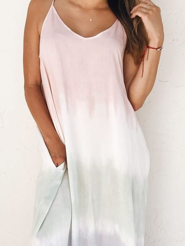 Pink Sleeveless V Neck Cotton Dresses