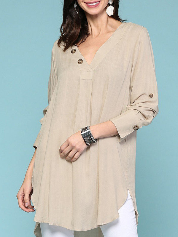 Plus Size Long Sleeve Button Neckline Solid Tunic Tops
