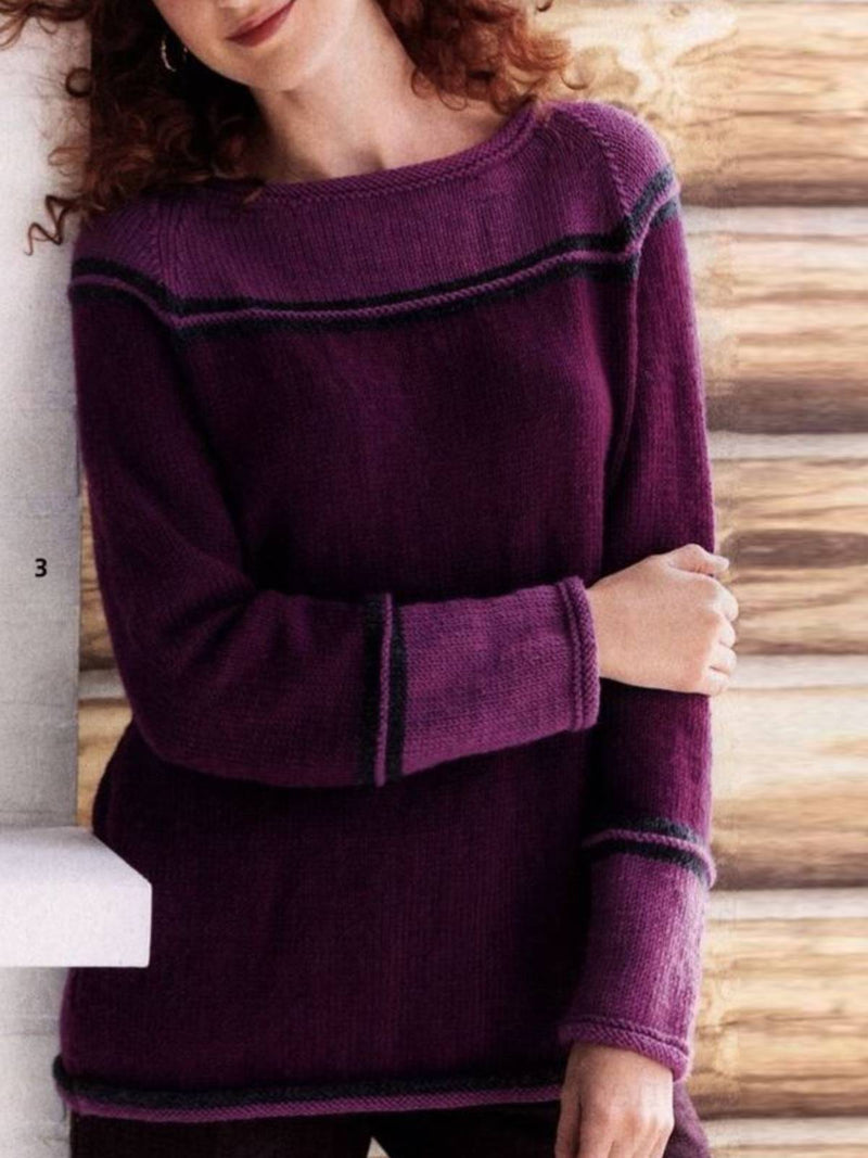 Purple Long Sleeve Crew Neck Plain Knitted Shirts & Tops