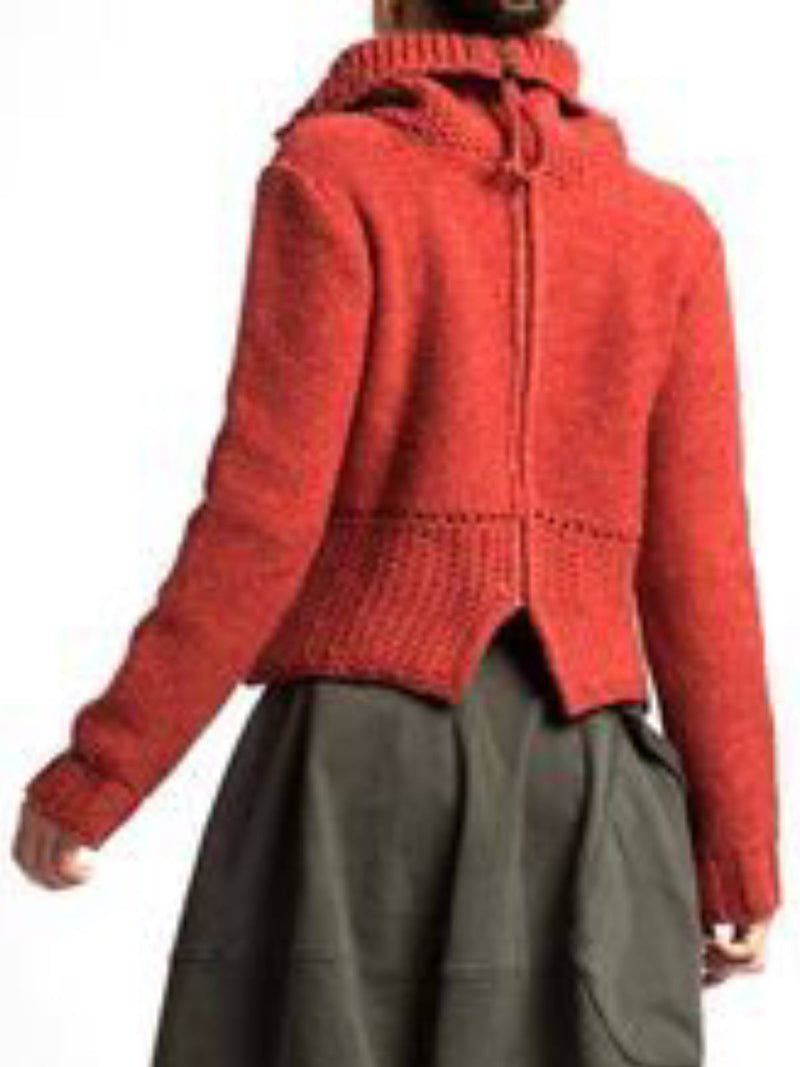 Red Plain Casual Outerwear