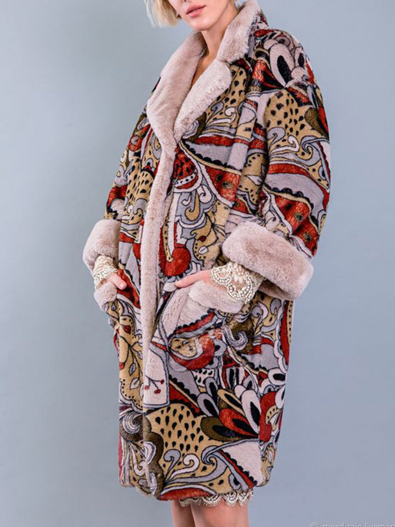 Printed Shawl Collar Outdoor Outerwear