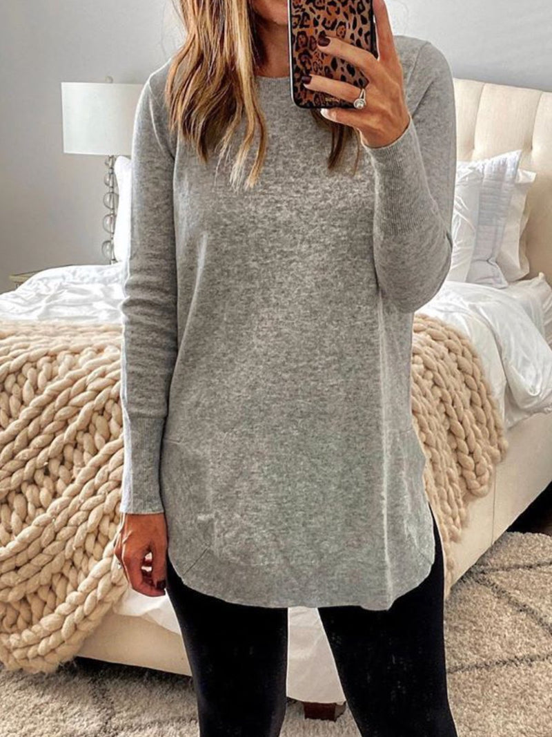 Solid Long Sleeve Casual Round Neck Sweater