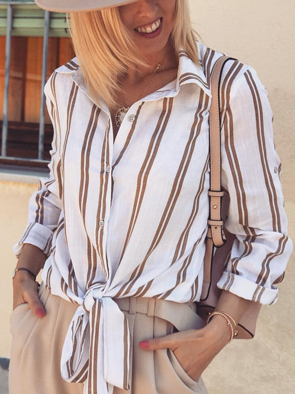 Plus Size Striped V Neck Long Sleeve Casual Shirts Tops