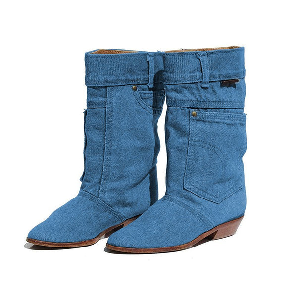 Women Denim Booties Casual Plus Size Shoes Warm Canvas Boots
