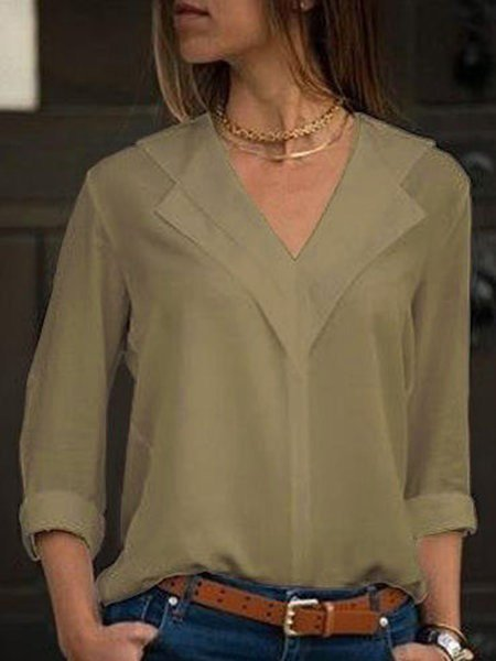 Women V-Neck Solid Color Long Sleeve Blouse