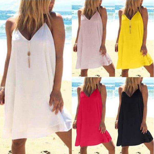 Backless Sleeveless Casual Dresses