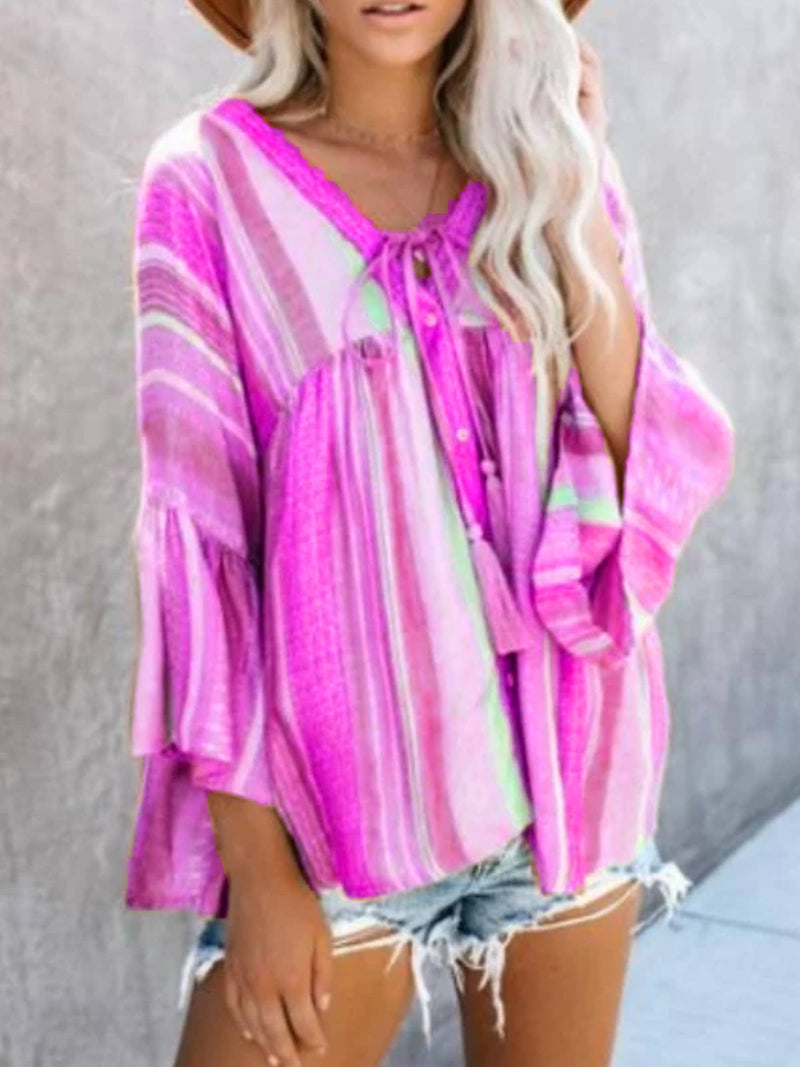 Cotton-Blend Long Sleeve Color-Block Patchwork Shirts & Tops