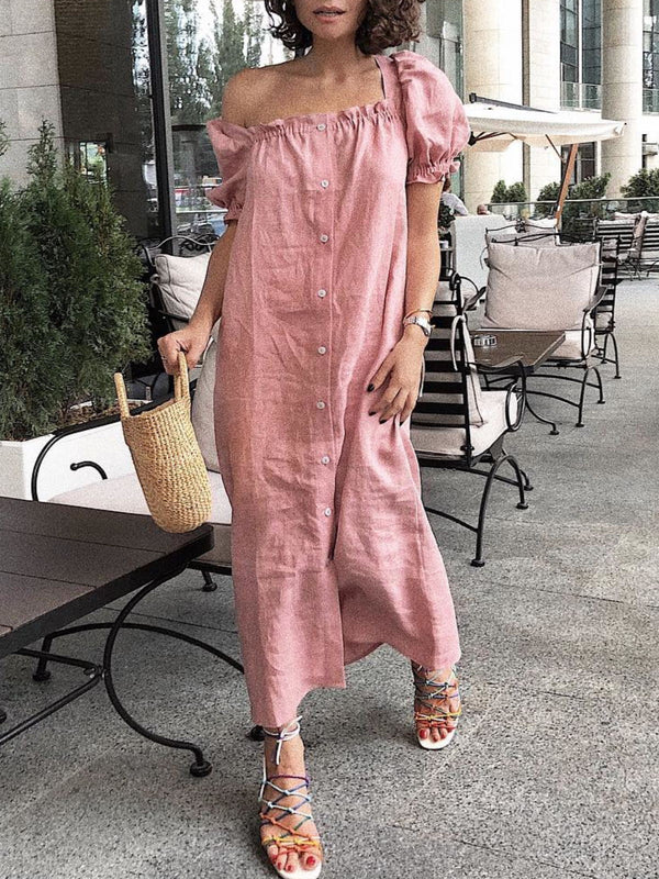 Pink Casual Square Neck Short Sleeve Dresses