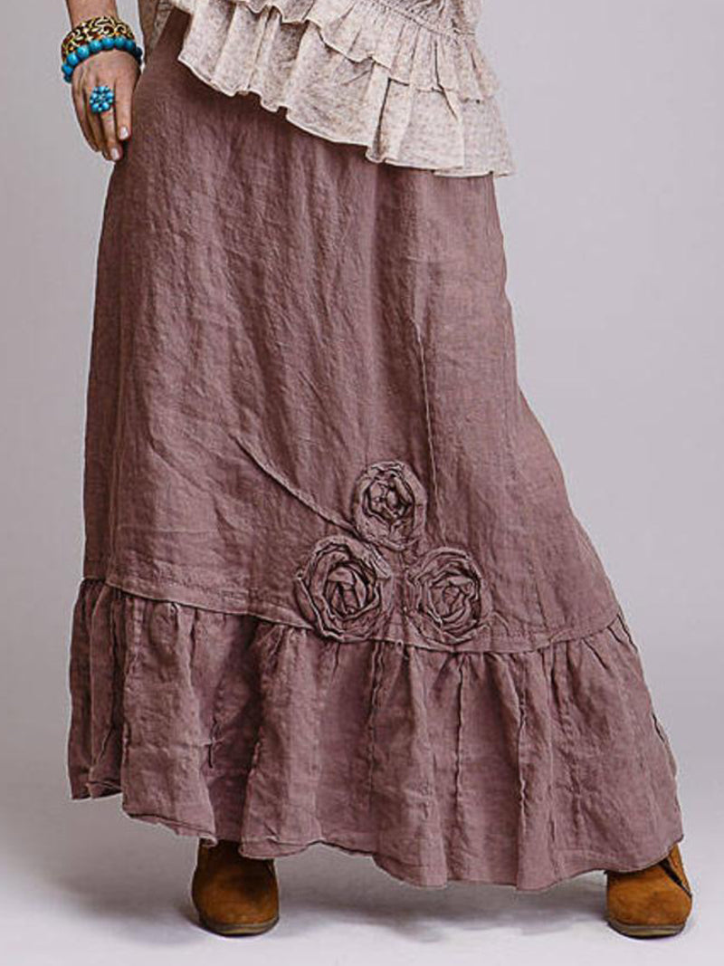 Casual Cotton Vintage Ruched Floral Skirts