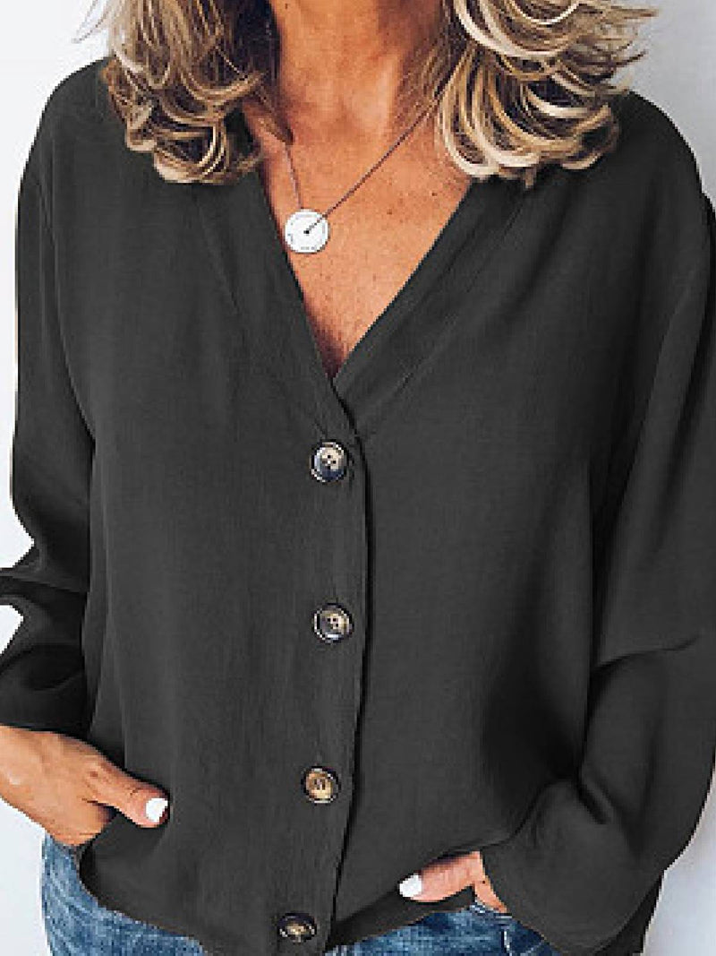 Black Casual V Neck Sweater