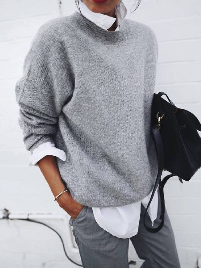 Grey Solid Casual Tops