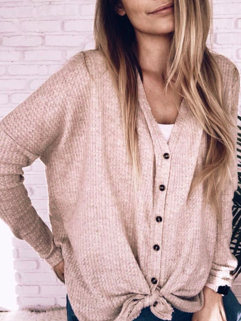 Casual Plain V Neck Cardigan