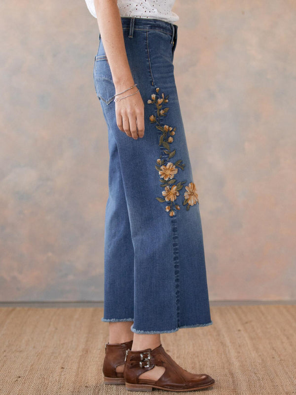 Casual Floral-Embroidered Denim Pants