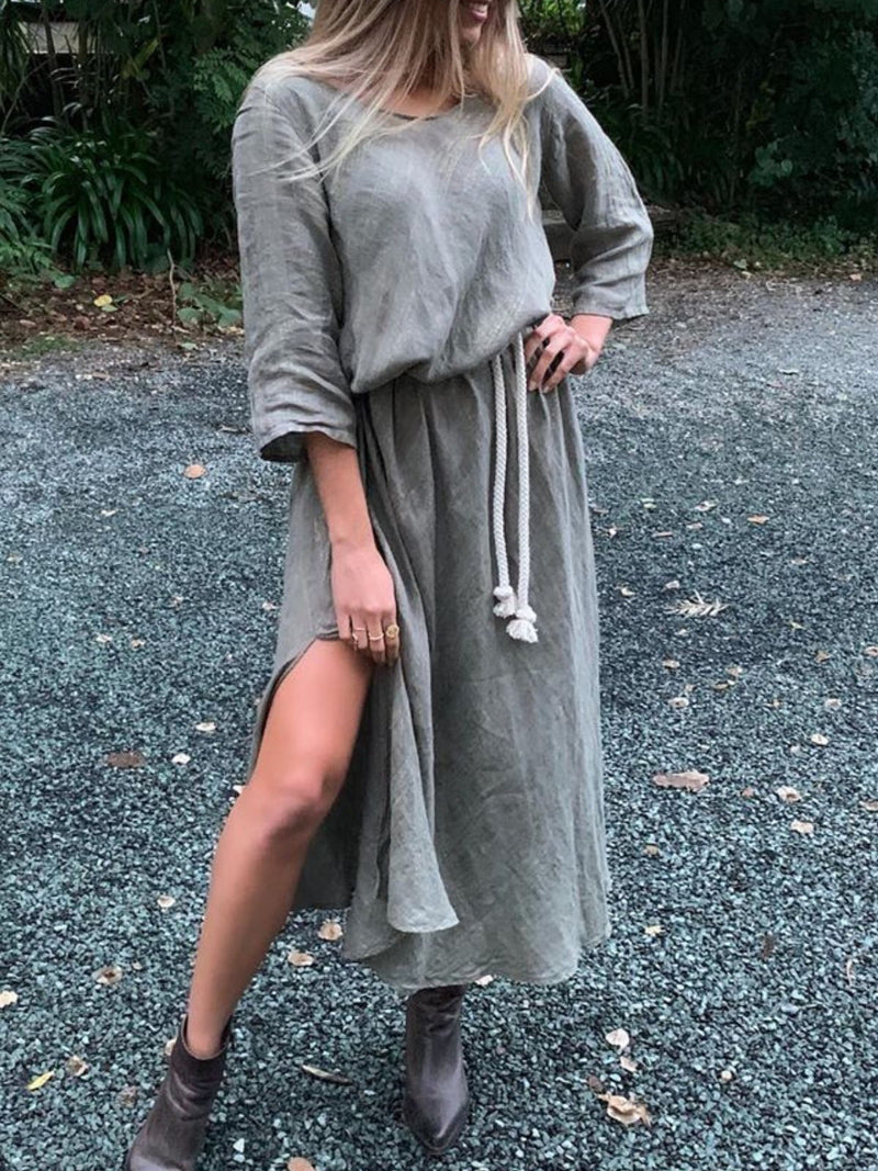 Casual Crew Neck Solid 3/4 Sleeve Dresses