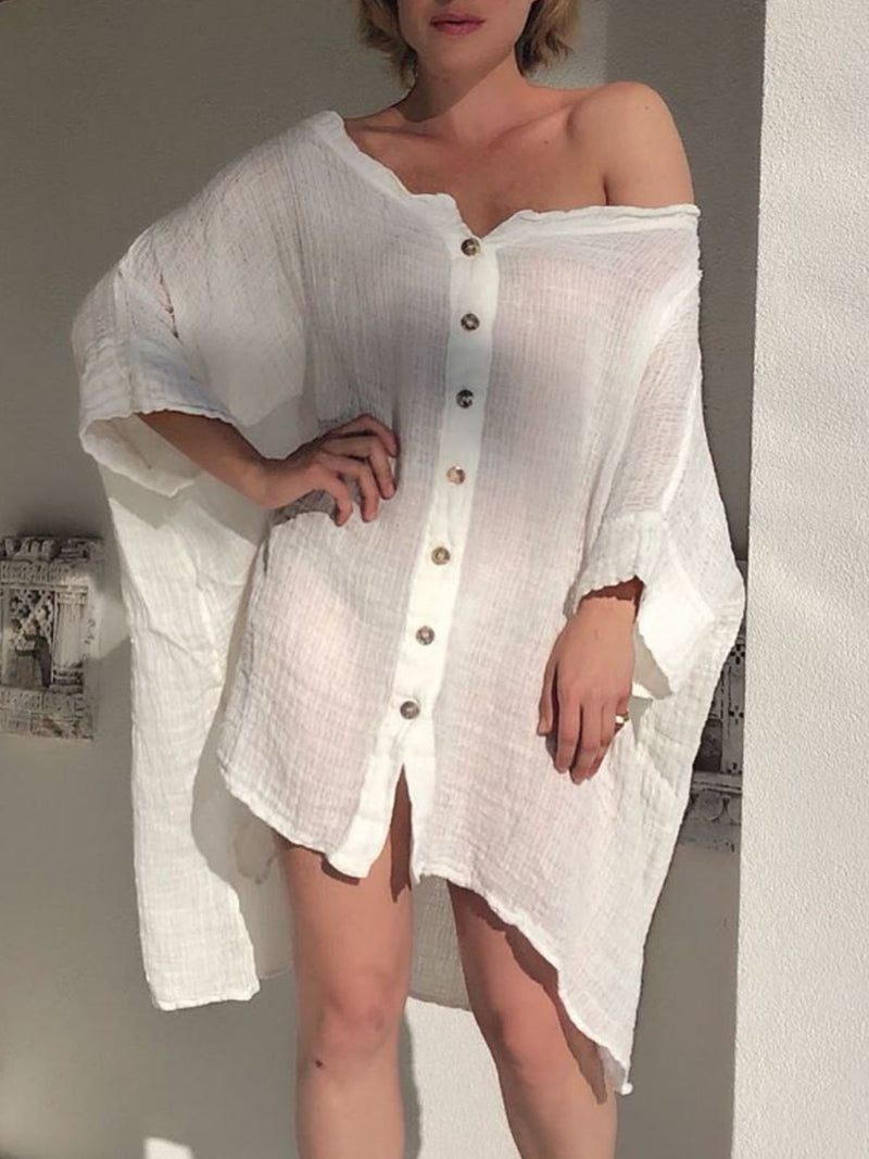 Plus Size Casual 3/4 Sleeve Solid Dresses