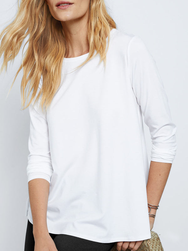 Casual Soft Solid Shirts & Tops