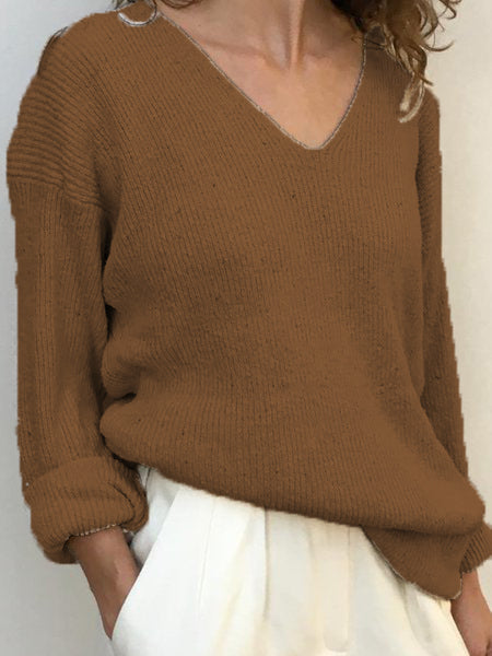 Woman Wool Blend Casual Solid V Neck Shirts & Tops