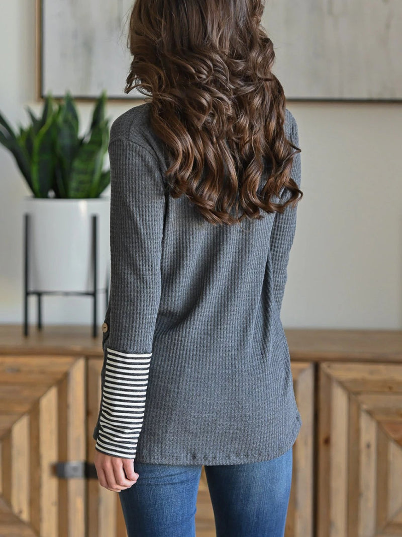 Women Stripr Long Sleeve Stitching Tops