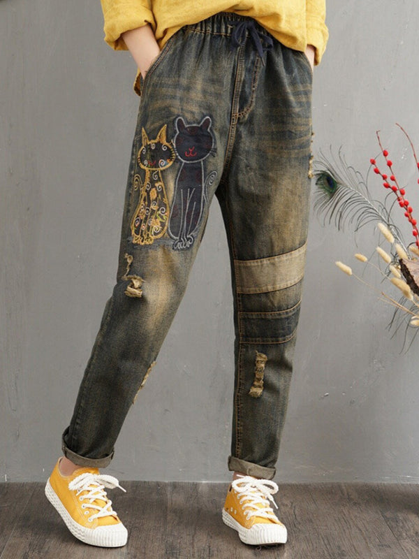 Plus Size Casual Denim Floral-Print Animal Pants
