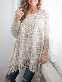 Solid Long Sleeve Round Neck Knitted Sweater