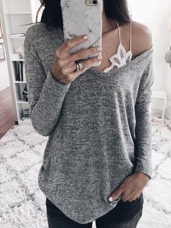 V Neck Plain Casual Shirts & Tops