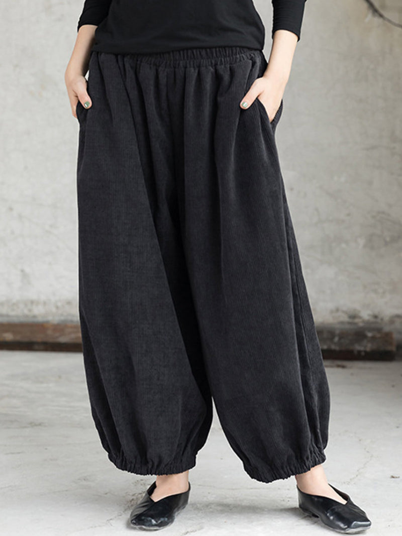 Casual Plain Cotton Plus Size Pants
