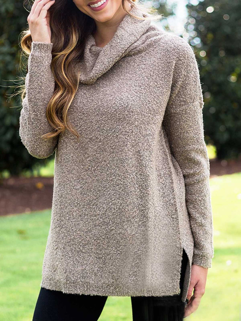 Solid Casual Turtleneck Cotton-Blend Tops
