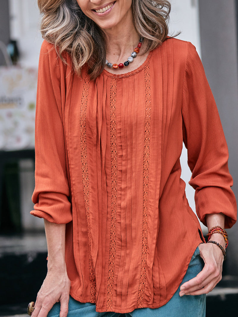 Plain Guipure lace Ruched Casual Tops
