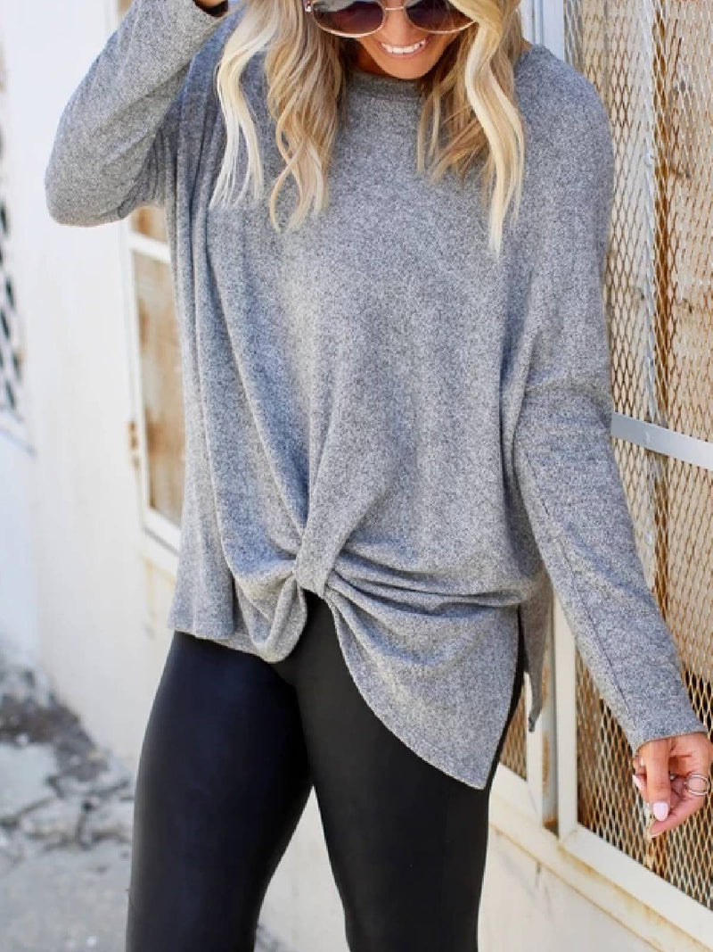 Long Sleeve Round Neck Solid Cotton-Blend Shirts