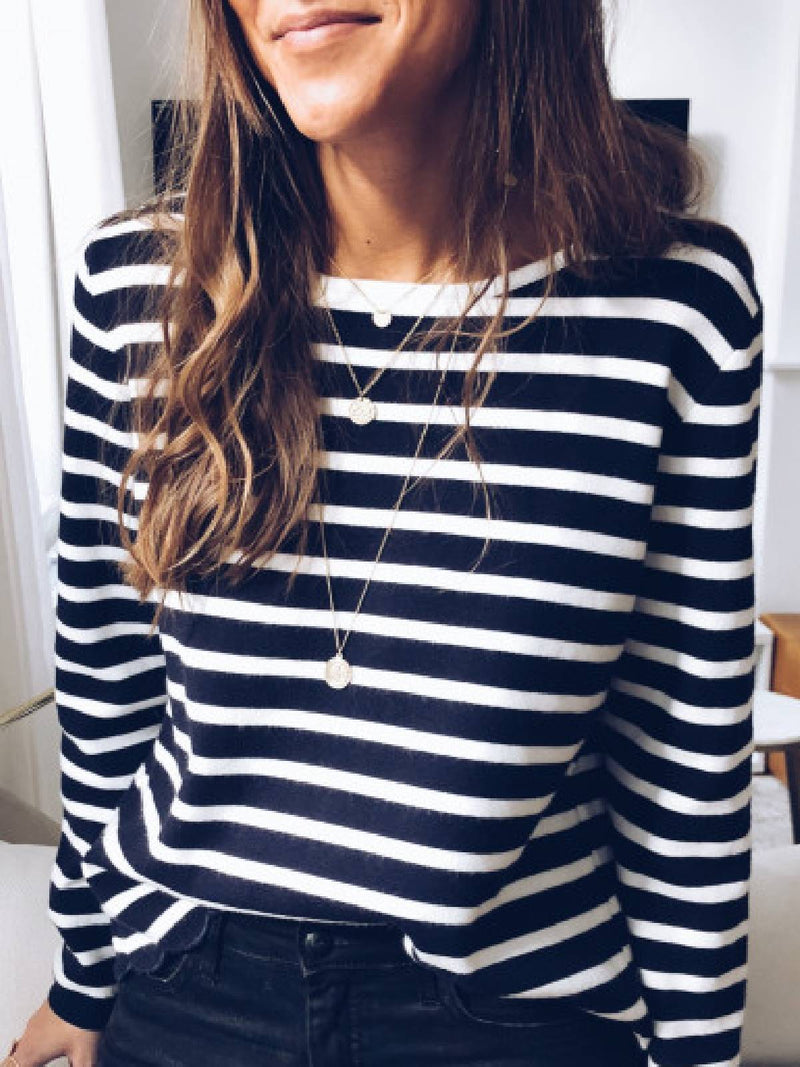 Striped Long Sleeve Cotton-Blend Shirts