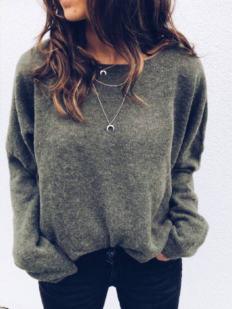Long Sleeve Cotton-Blend Round Neck Solid Sweater