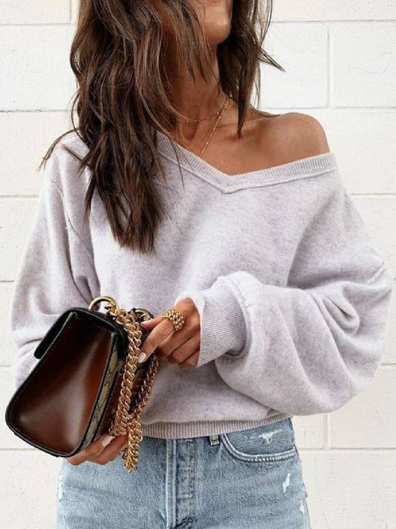 Long Sleeve Cotton-Blend Casual Sweater
