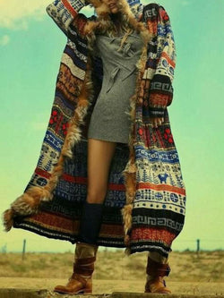 Multicolor Vintage Tribal Floral-Print Outerwear