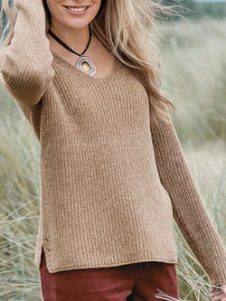Casual Plain V Neck Sweater