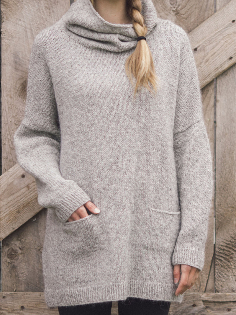 Cowl Neck Plain Casual Sweater
