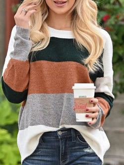 Casual Striped Color-Block Shirts & Tops