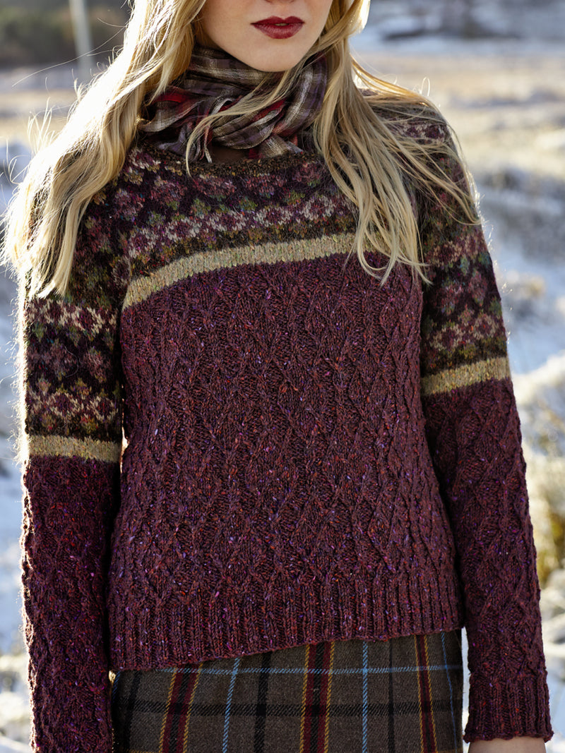 Knitted Round Neck Boho Floral Sweater