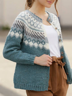Knitted Buttoned Casual Vintage Sweater