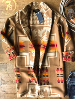 Casual Shawl Collar Tribal Outerwear