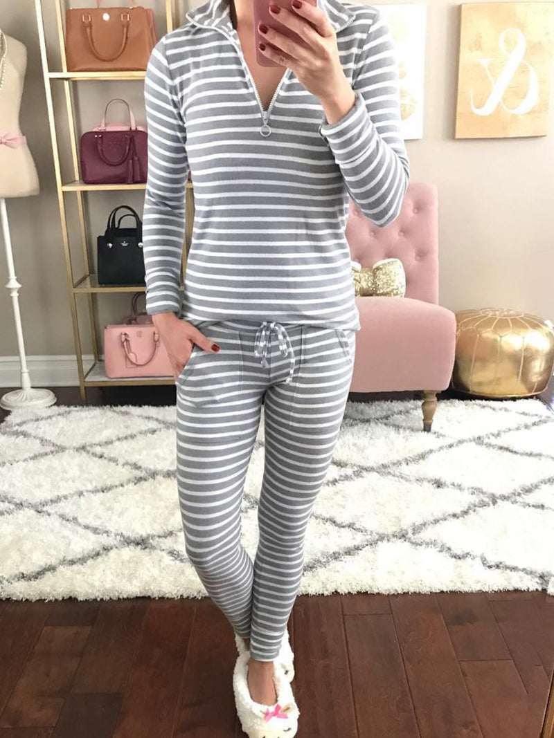 Casual V Neck Striped Soft Suits