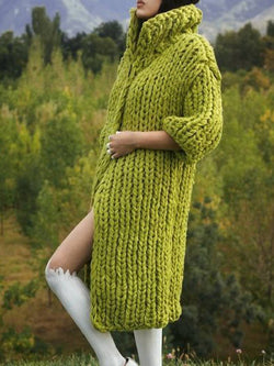 Green 3/4 Sleeve Knitted Outerwear