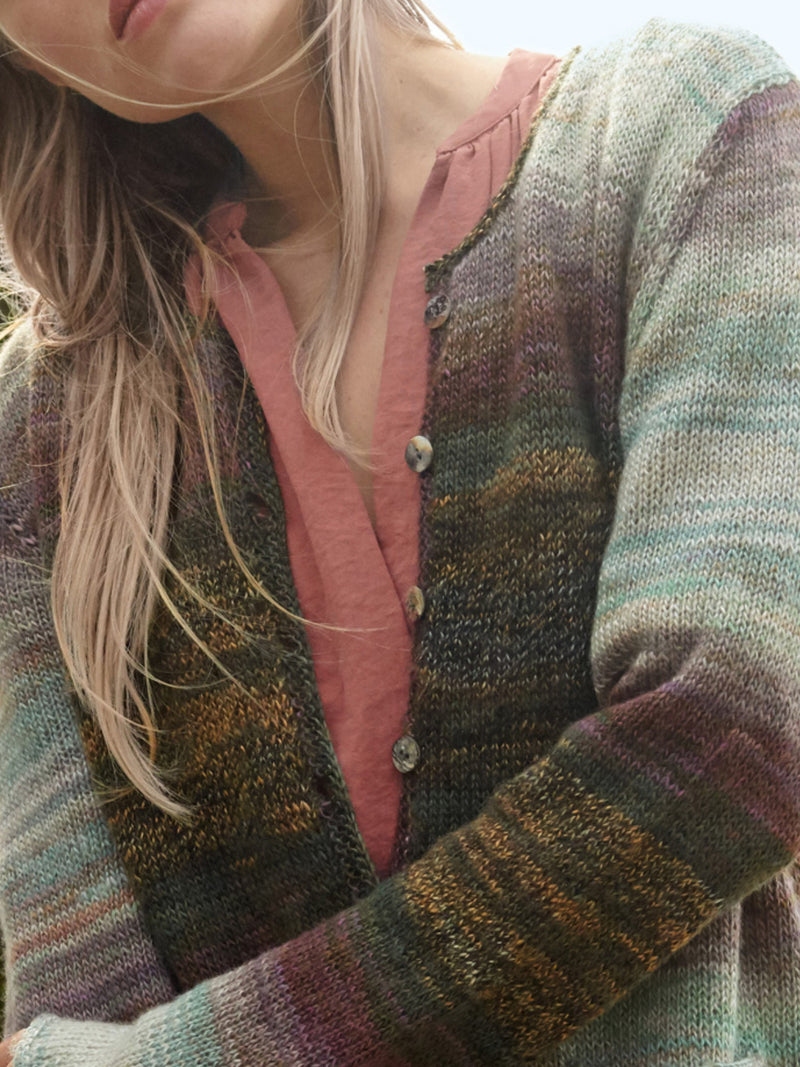 Multicolor Knitted Striped Outerwear