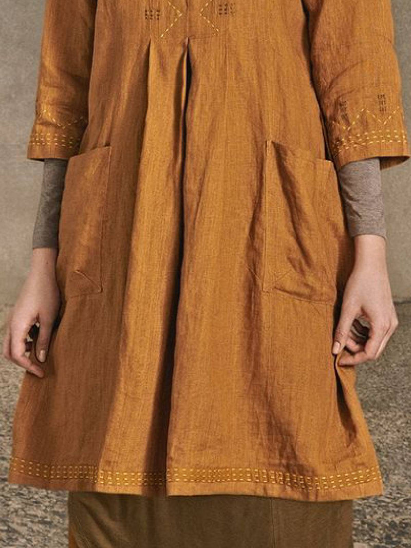 Yellow Embroidered Casual Dresses