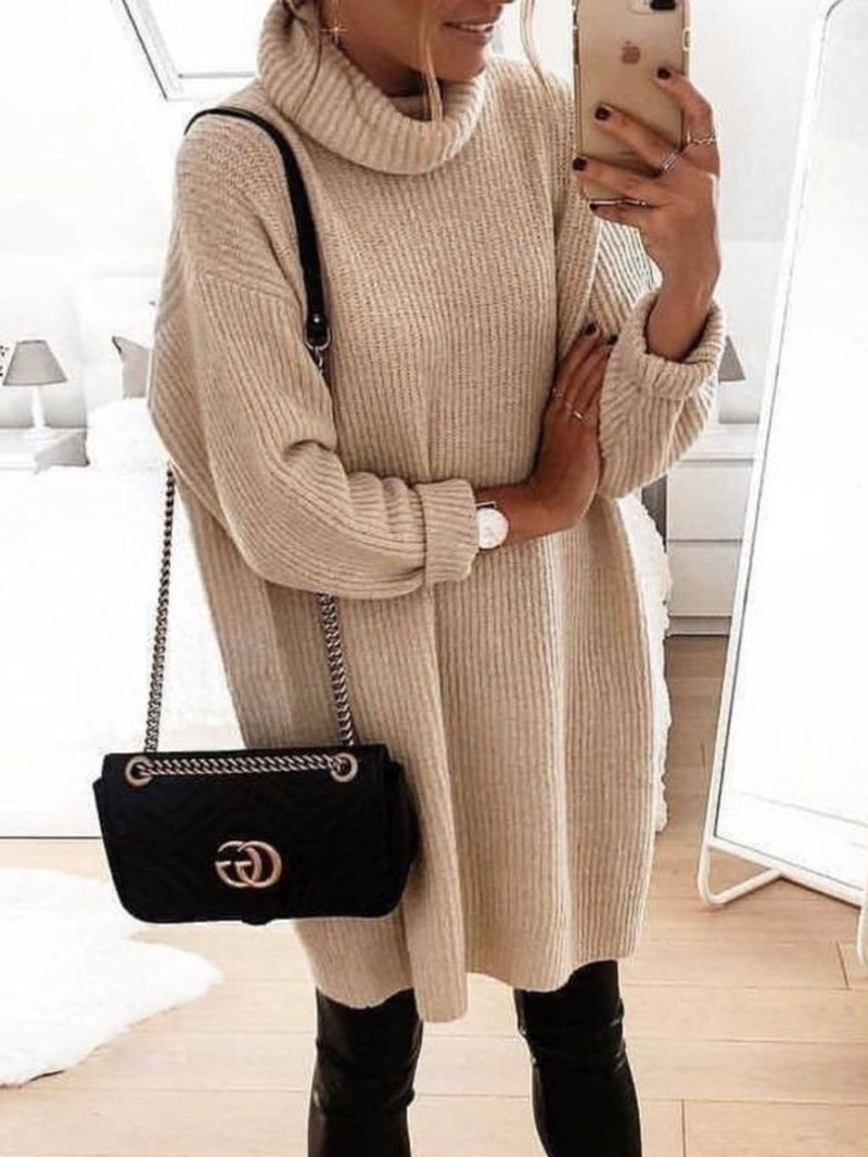 Turtleneck Knitted Casual Shift Sweater