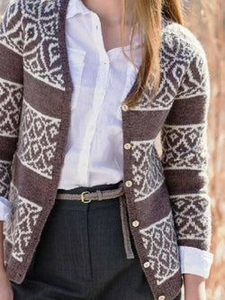 Brown Long Sleeve Tribal Sweater