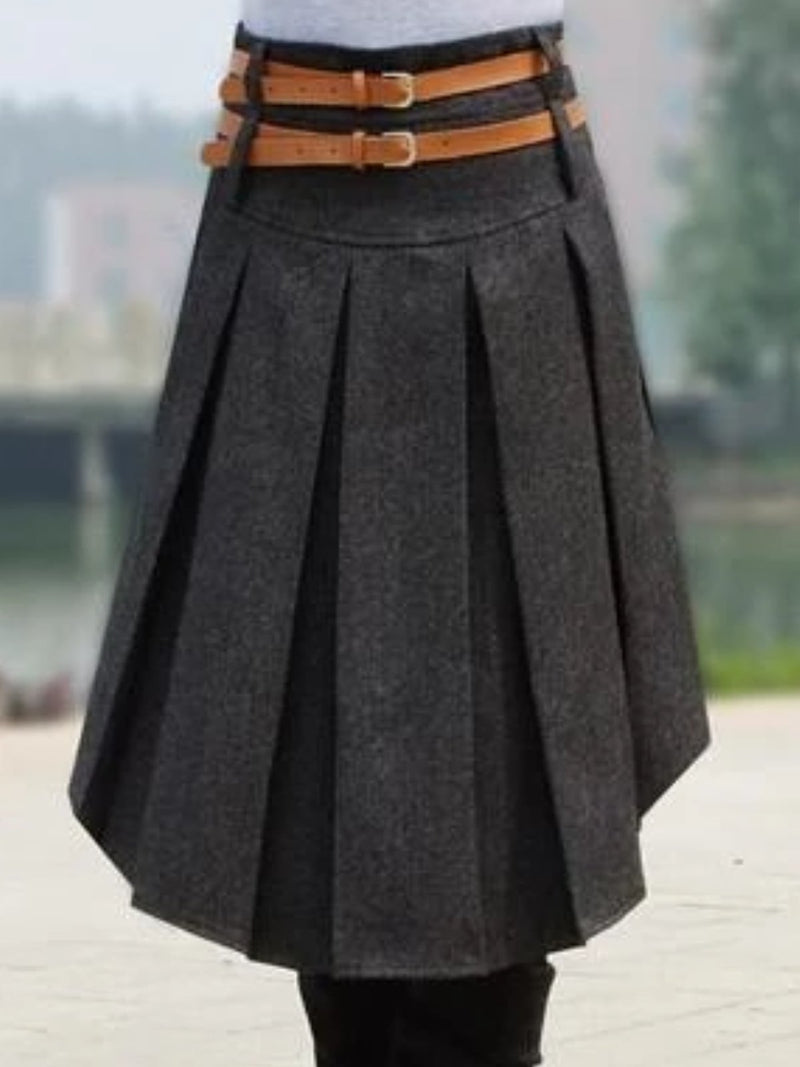 Casual Ruched Solid Skirts