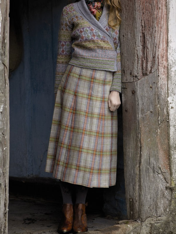 Vintage Floral-print Checkered/plaid  Skirts